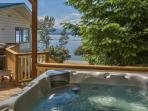 Enjoy the sensational Lake views from the private Hot tub in the back yard
