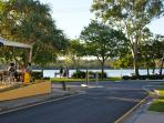 End of Edward Street looking past restaurant to Noosa river