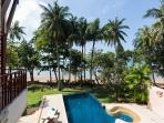 Beachfront with swimming pool