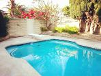 large swimming pool with toys and cute pictures