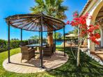 The Gazebo is large enough to fit a large table and six chairs - you can eat outdoors in the shade.