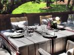 Relax in the alpine sunshine on the private and peaceful terrace, outdoor apero a must in the summer
