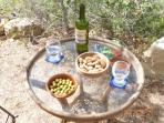 Local wines, locally grown olives and homegrown almonds.