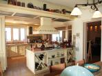 Large, beautiful kitchen close to the pool with great sea view