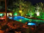 Stunning nighttime lighting around pool and garden