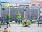 The patio at the rear of the self catering apartments
