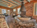 Huge bonus room and amazing log fireplace perfect for late night gatherings and family games