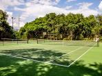 Tennis court and basket ball hoop