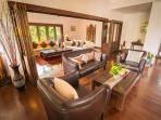 Living area including 50' TV with a large selection of satellite channels