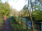 Walking beside the Water of Leith. Easy to access from the apartment