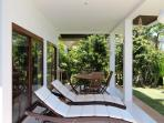 Sun loungers on your own private patio, and around the pool area
