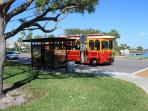 The Jolly Trolley stops at corner and takes you around the barrier islands - 29 miles of pure beauty