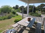 covered patio off back with picnic table and grill - 46 Little Beach Road Chatham Cape Cod New England Vacation Rentals