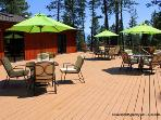 We have a large wrap around deck! With plenty of chairs and tables for your group!