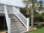 Stairs leading down to the back yard~Gate on Deck