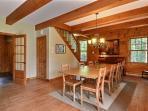 Solid wood ceiling beams throughout main floor