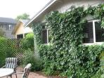 South side of cottage with cooling vines.