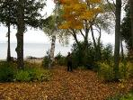 Late October View of the Path to Our Shoreline.  Enjoy the Fall Colors on our Beach.