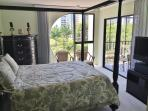 Master bedroom with large windows and patio access