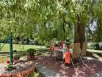 Weeping Willow Patio at the deep-well pump