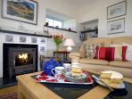 North Pembrokeshire coastal holiday home - lounge with Clearview wood burning stove