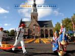 the famous cheese market in Alkmaar is two hours by boat from the port of Margret