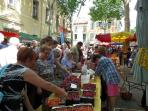 Buying cherries at the Ceret market
