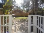 Backyard area with stone patio
