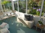 Evening sun in the peaceful conservatory