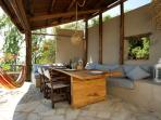 The external dining area will easily fit 10 people. There is a stone oven you can use.