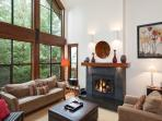 Living Room with Vaulted Ceilings and Gas Fireplace