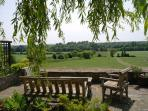 The view across the valley from the large courtyard in front of the cottages