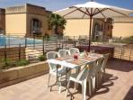 Outside private terrace equipped for outside dining for 6 persons including gas BBQ and lounge seats