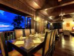 The dining area with amazing sunset views