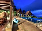 The villa at night - why not stay in and let our staff cook you a private meal