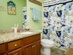 Updated bath with granite countertops