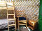 Inside yurt Nanny Iris.