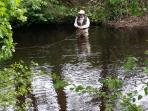 Trout fisherman, on river Derwent a few minutes walk from Rokeby Cottage.