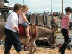 Donkey rides and Punch and Judy on Viking Bay in summer