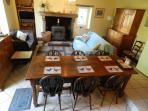 The Living Room has seating for 6 and lovely old oak furniture 32in Sat UK TV DVD WiFi