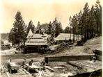The construction of Lake Arrowhead Village. Picture on the wall at the cottage.