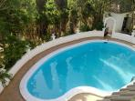 View of private swimming pool from top terrace