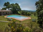 From the pool you have excellent views of the Tuscan hills