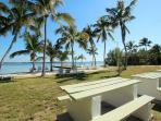 Private Community Beach with Picnic Tables
