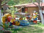 childrens play ground at a local taverna bearby