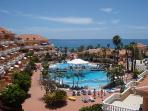 View of the Tenerife Royal Gardens Complex inc. the 3 pools and sea in the distance