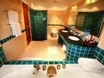 Double Jacuzzi , twin basins and walk-in shower
