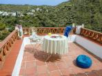 Upper private terrace from the top bedroom ideal for breakfast with unspoiled views