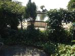 view from the garden to the lake