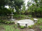 Upper garden patio and fountain